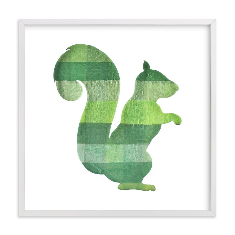 """Green Party Squirrel"" - Art Print by Jeff Preuss in beautiful frame options and a variety of sizes."