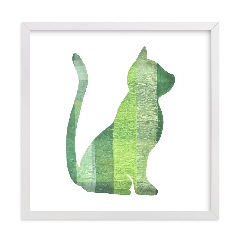 """""""Green Party Kitty"""" - Art Print by Jeff Preuss in beautiful frame options and a variety of sizes."""