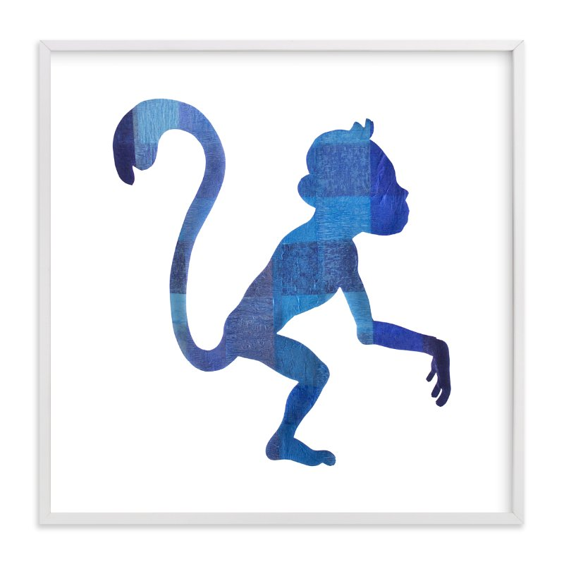 """Blue Party Monkey"" - Art Print by Jeff Preuss in beautiful frame options and a variety of sizes."