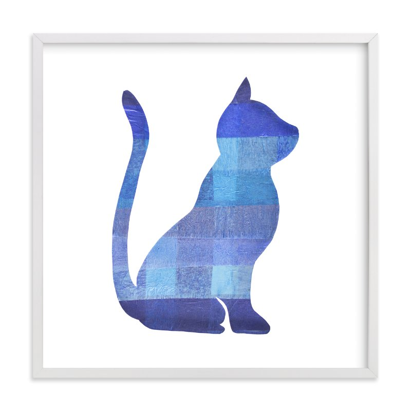 """""""Blue Party Kitty"""" - Art Print by Jeff Preuss in beautiful frame options and a variety of sizes."""