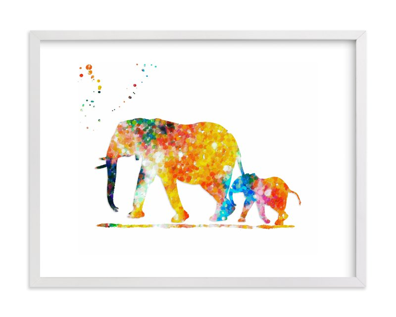 """""""Elephant Mom & Baby """" - Art Print by Alex Isaacs Designs in beautiful frame options and a variety of sizes."""