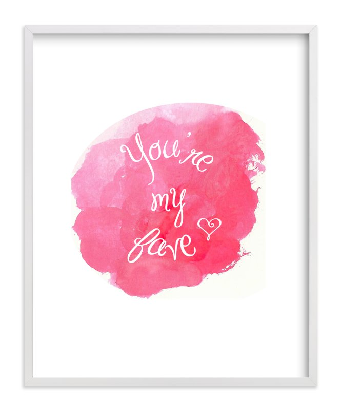 """""""You're My Fave Watercolor"""" - Art Print by Rebecca Lowe in beautiful frame options and a variety of sizes."""