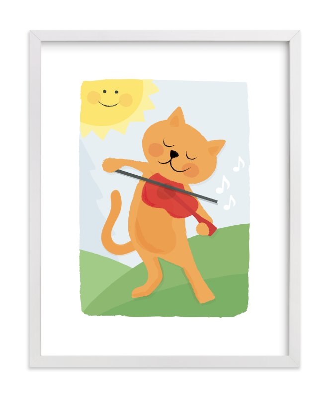 """""""The Cat and the Fiddle"""" - Art Print by Jessie Steury in beautiful frame options and a variety of sizes."""