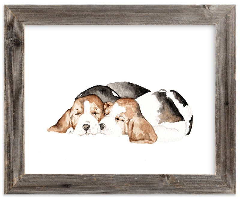 """Sleepy Watercolor Puppies"" - Art Print by Lauren Rogoff in beautiful frame options and a variety of sizes."
