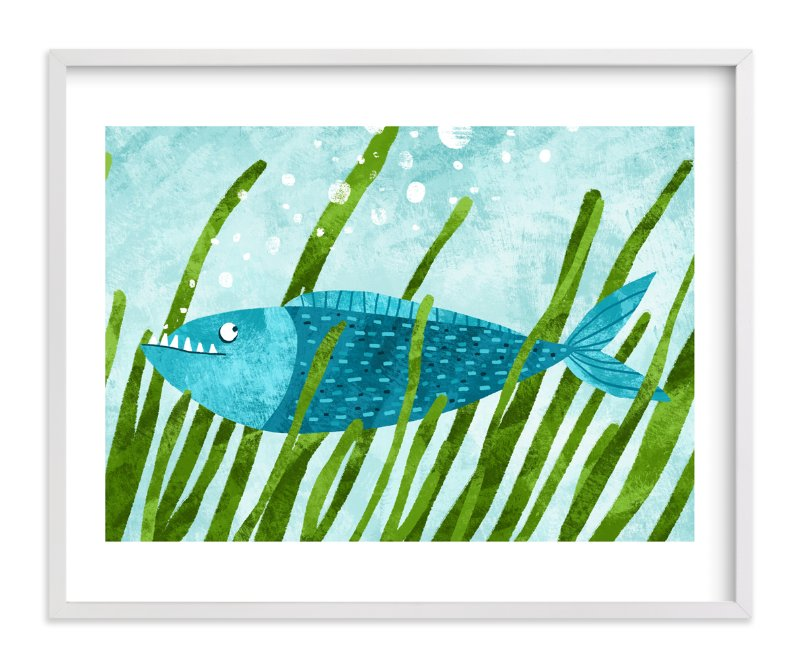 """""""That Blue Fish"""" - Art Print by Evelline Andrya in beautiful frame options and a variety of sizes."""