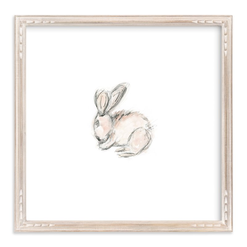 """Little Bunny Blue"" - Art Print by Mande in beautiful frame options and a variety of sizes."