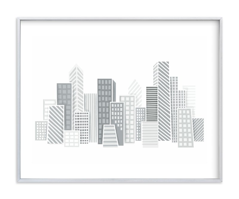"""Kid City Skyline"" - Art Print by Jessie Steury in beautiful frame options and a variety of sizes."