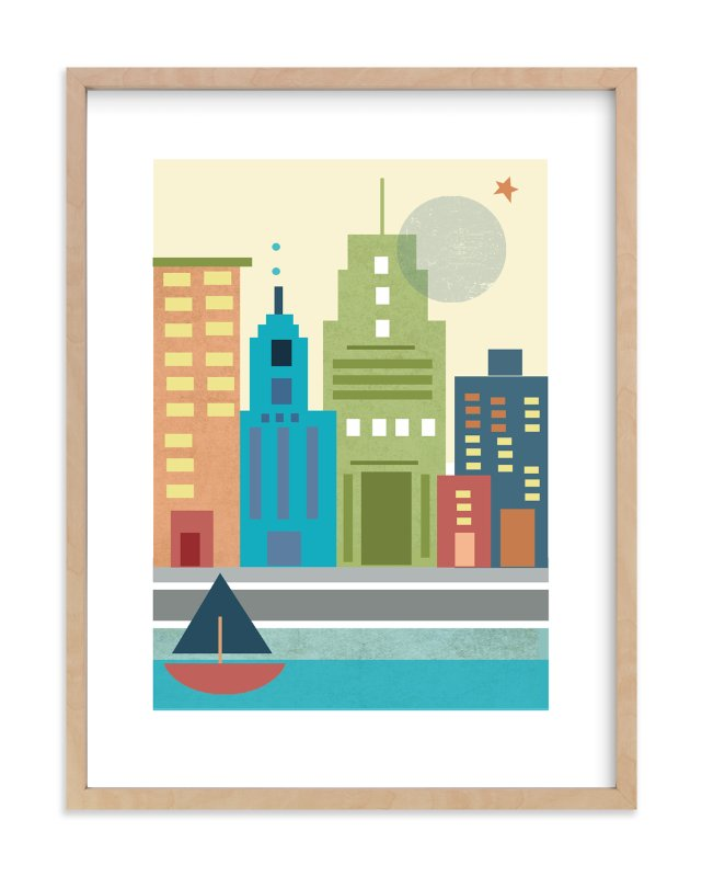 """""""A Day in the City"""" - Art Print by Alison Jerry Designs in beautiful frame options and a variety of sizes."""