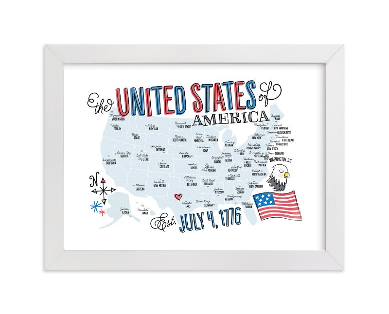 """USA Doodle Map"" - Art Print by Jessie Steury in beautiful frame options and a variety of sizes."