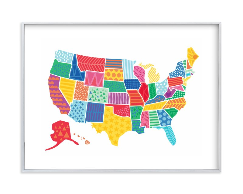 """Super States of America Map"" - Art Print by Jessie Steury in beautiful frame options and a variety of sizes."