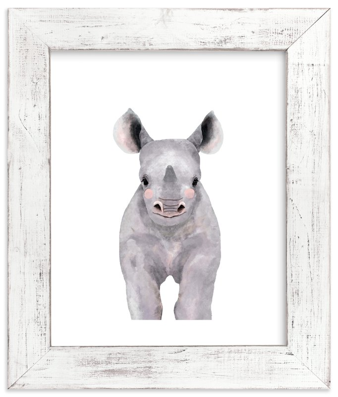 """Baby Animal Rhinoceros"" - Art Print by Cass Loh in beautiful frame options and a variety of sizes."