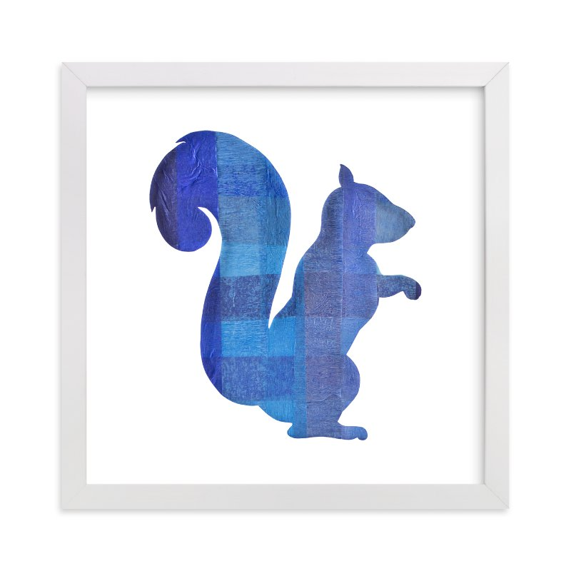"""Blue Party Squirrel"" - Art Print by Jeff Preuss in beautiful frame options and a variety of sizes."