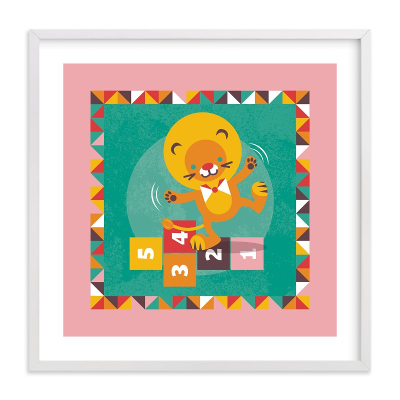 """""""Playground Lion"""" - Art Print by Mandy Rider in beautiful frame options and a variety of sizes."""
