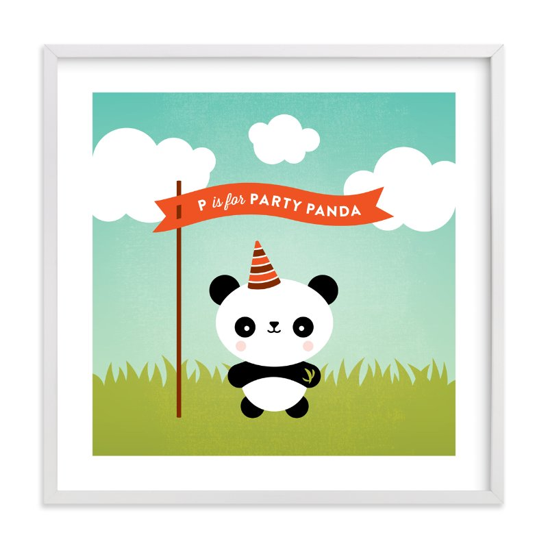 """Party Panda"" - Art Print by Genna Cowsert in beautiful frame options and a variety of sizes."
