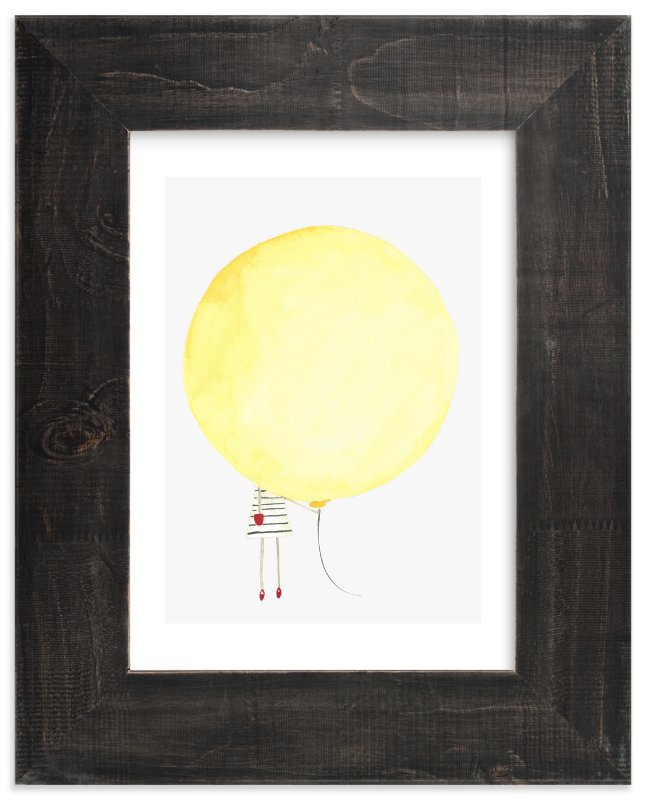 """""""The Girl and the Giant Balloon"""" - Art Print by Monica Loos in beautiful frame options and a variety of sizes."""