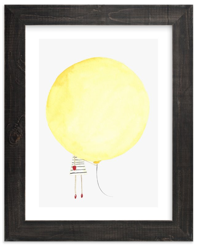 """The Girl and the Giant Balloon"" - Art Print by Monica Loos in beautiful frame options and a variety of sizes."