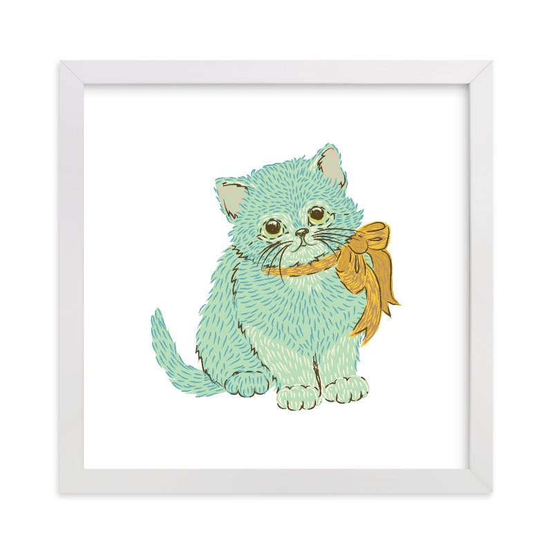 """Kitten & Bow"" - Art Print by Snow and Ivy in beautiful frame options and a variety of sizes."