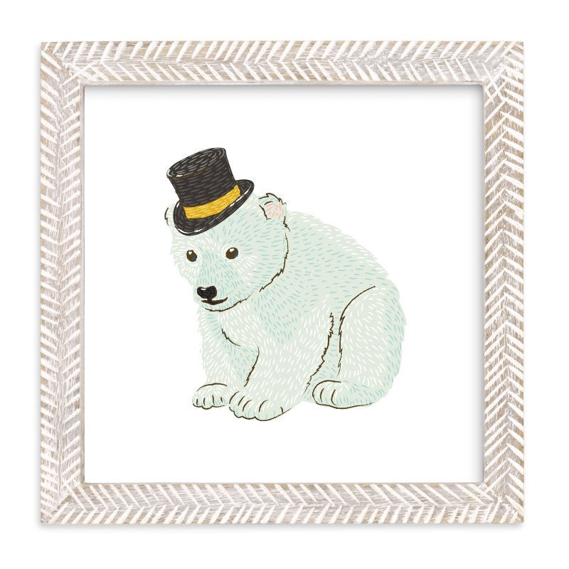 Polar Bear Cub with Hat Wall Art Prints by Snow and Ivy | Minted