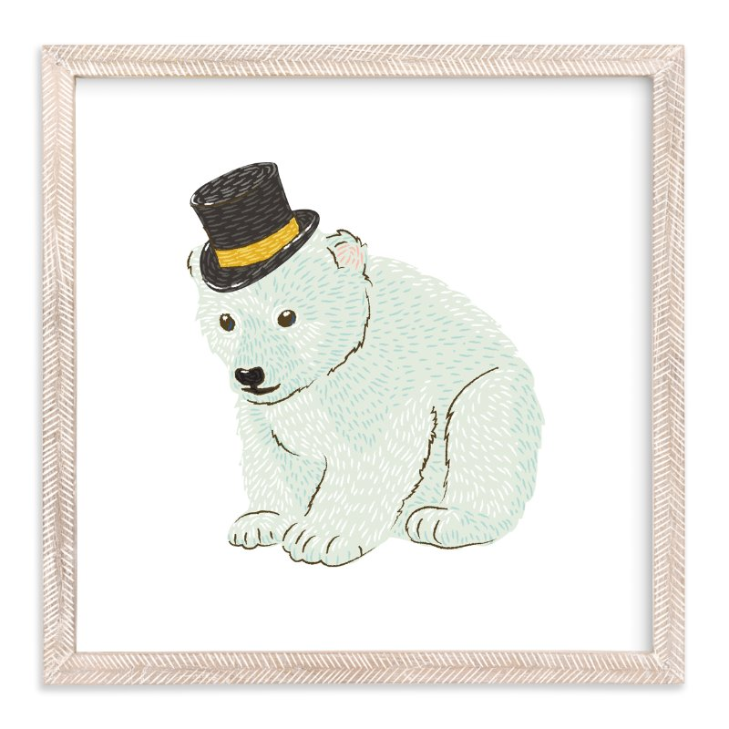 """""""Polar Bear Cub with Hat"""" - Art Print by Snow and Ivy in beautiful frame options and a variety of sizes."""