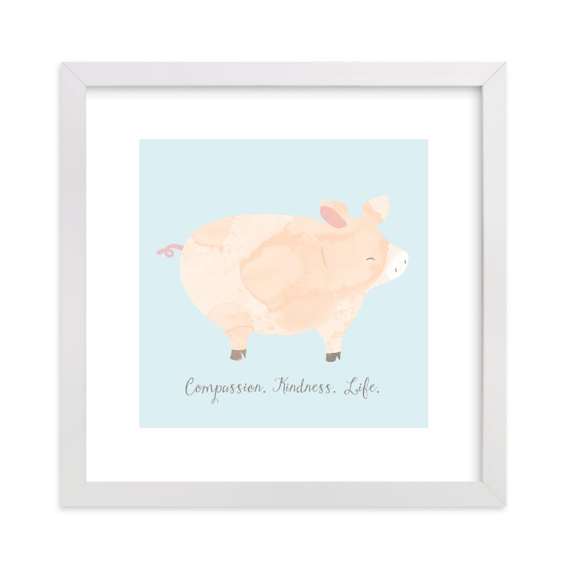 """pig friend"" - Art Print by peetie design in beautiful frame options and a variety of sizes."
