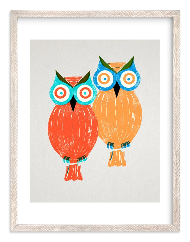 """""""Two Owls"""" - Art Print by Anne Crosse in beautiful frame options and a variety of sizes."""
