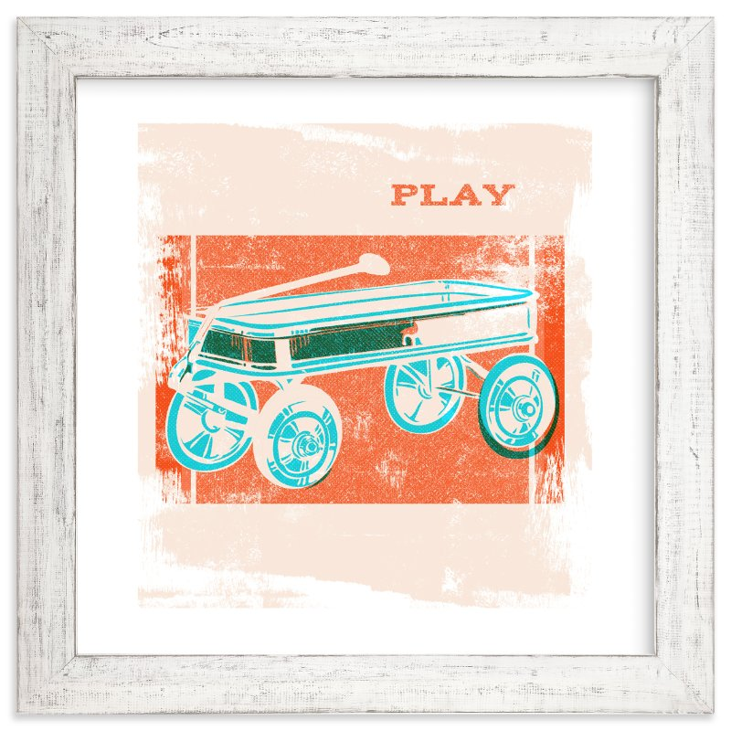 """""""Red Wagon"""" - Art Print by Anne Crosse in beautiful frame options and a variety of sizes."""