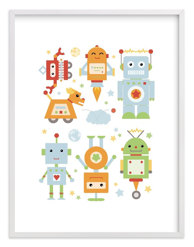 """""""Robot Collective II"""" - Art Print by Dawn Jasper in beautiful frame options and a variety of sizes."""