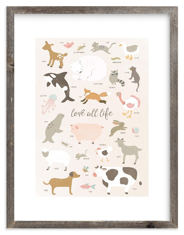 """love all life"" - Art Print by peetie design in beautiful frame options and a variety of sizes."