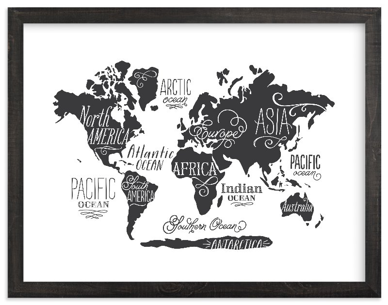 """""""Whimsical World Map"""" - Art Print by Jessie Steury in beautiful frame options and a variety of sizes."""