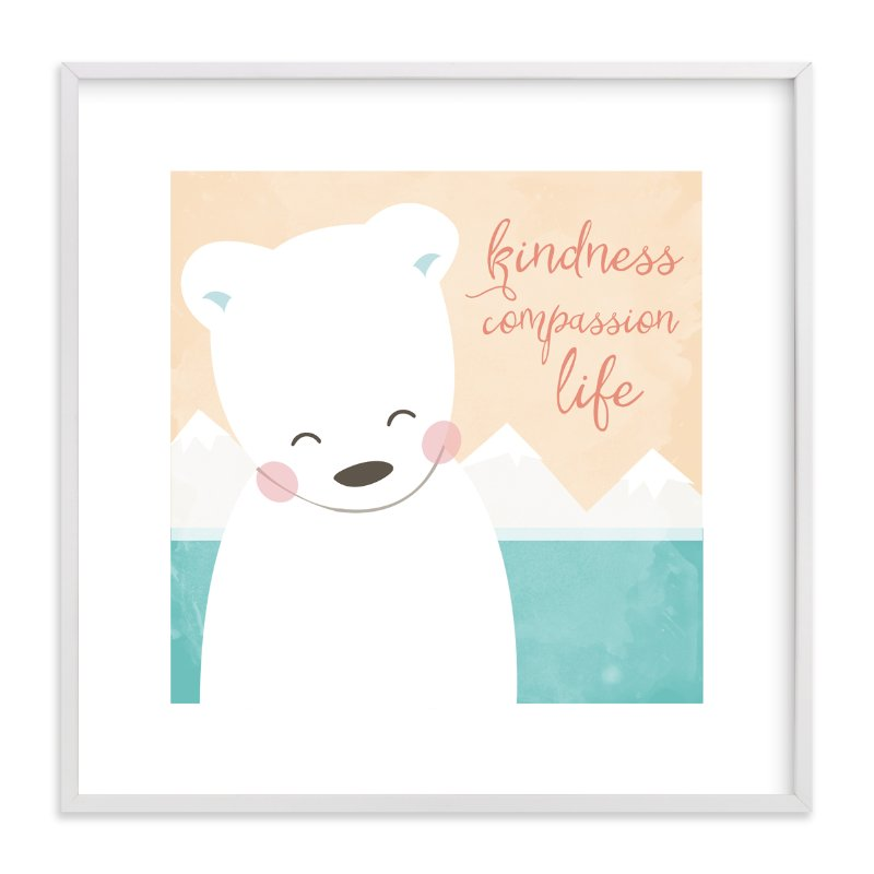 """""""kind polar bear"""" - Art Print by peetie design in beautiful frame options and a variety of sizes."""