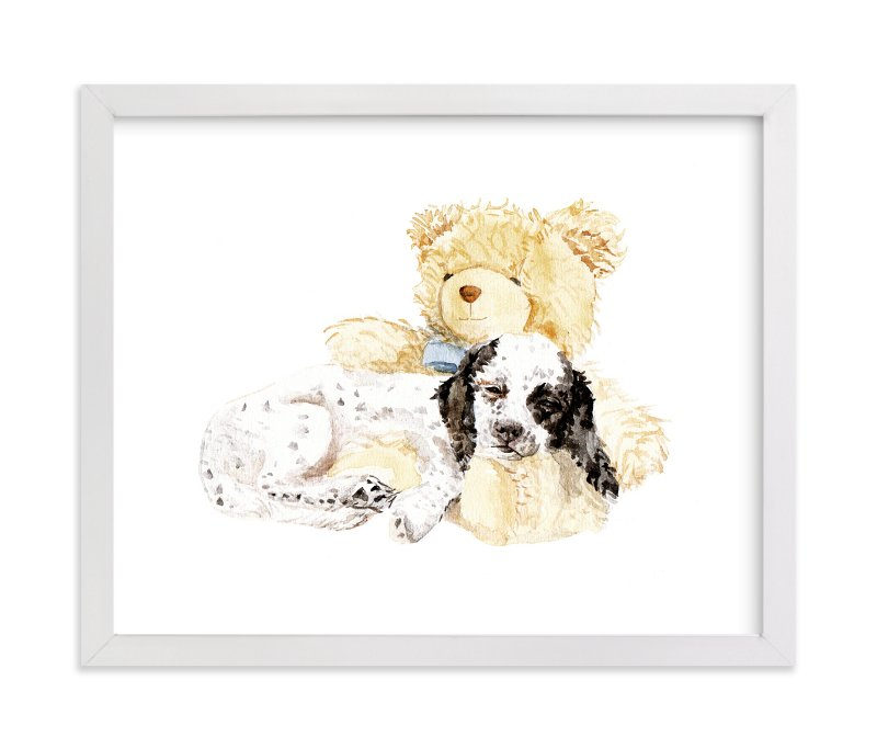 """Pup & Teddy: Best Friends Forever"" - Art Print by Lauren Rogoff in beautiful frame options and a variety of sizes."