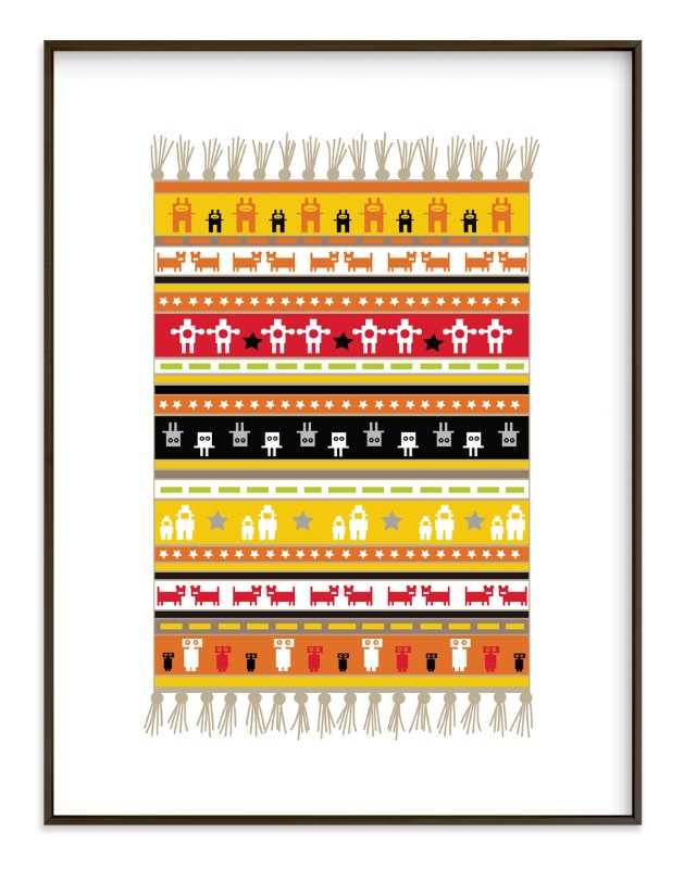 """""""Rustic Robot Rug"""" - Art Print by Jan Shepherd in beautiful frame options and a variety of sizes."""