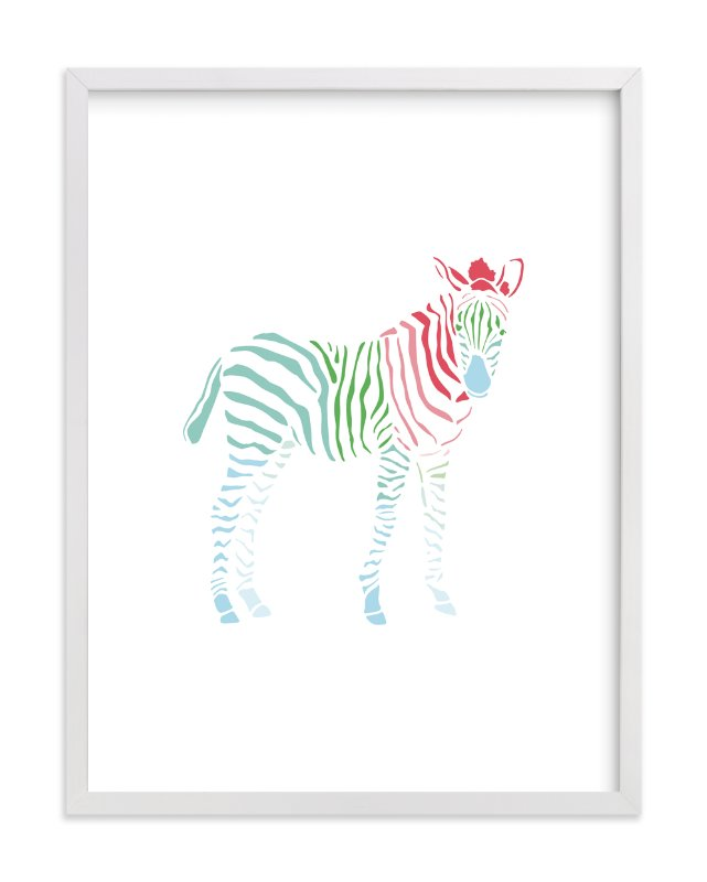"""""""Rainbow Zebra"""" - Art Print by Meredith Collie in beautiful frame options and a variety of sizes."""