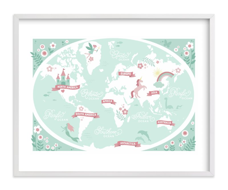 """""""Enchanted World Map"""" - Art Print by Jessie Steury in beautiful frame options and a variety of sizes."""
