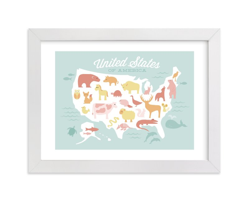 """Animal American Map"" - Art Print by Jessie Steury in beautiful frame options and a variety of sizes."