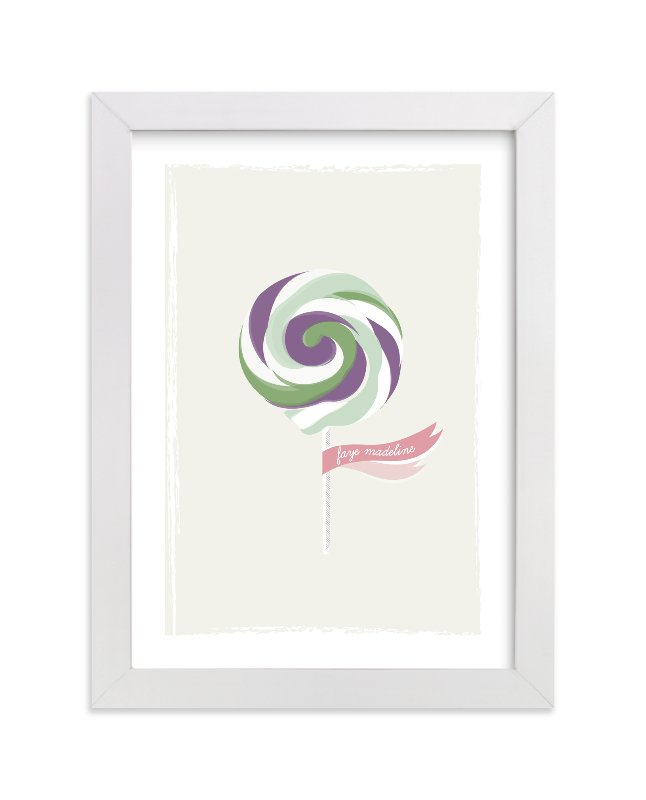 This is a purple nursery wall art by Stacey Meacham called Lickety Split.