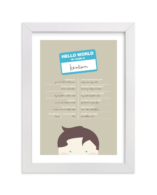 """Hello World"" - Nursery Custom Art Print by Kristie Kern in beautiful frame options and a variety of sizes."