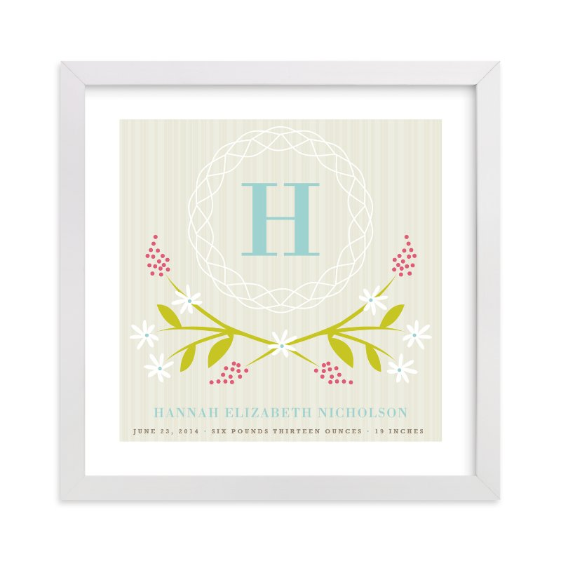 """""""Initial Wreath"""" - Nursery Custom Art Print by Kristie Kern in beautiful frame options and a variety of sizes."""