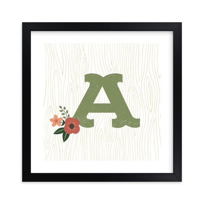 """""""Woodsy Monogram"""" - Nursery Custom Art Print by Olivia Raufman in beautiful frame options and a variety of sizes."""
