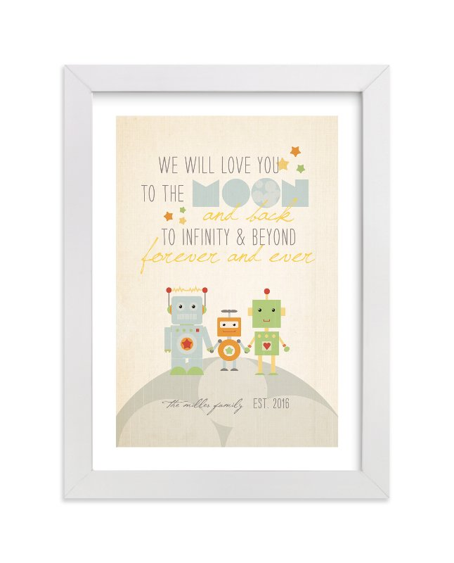 """""""Robot Family"""" - Nursery Custom Art Print by Dawn Jasper in beautiful frame options and a variety of sizes."""