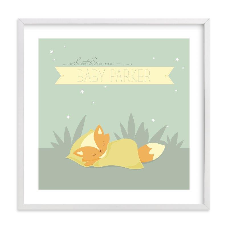 """Sleeping Fox"" - Nursery Custom Art Print by Tara Lilly Studio in beautiful frame options and a variety of sizes."