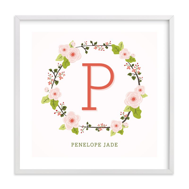 """Anemone Monogram"" - Nursery Custom Art Print by Lawren Ussery in beautiful frame options and a variety of sizes."