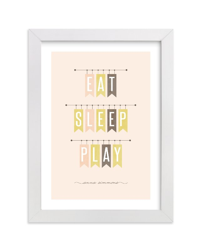 """Eat Sleep Play"" - Nursery Custom Art Print by Stacey Meacham in beautiful frame options and a variety of sizes."