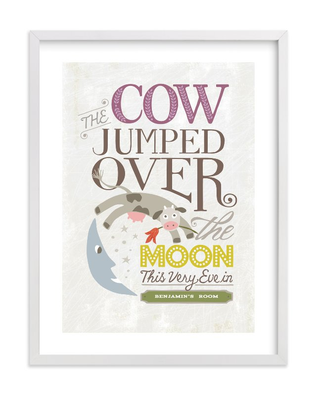 """""""Over the Moon"""" - Nursery Custom Art Print by Griffinbell Paper Co. in beautiful frame options and a variety of sizes."""