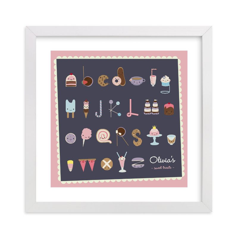 """Sweet Treats Alphabet"" - Nursery Custom Art Print by Frooted Design in beautiful frame options and a variety of sizes."