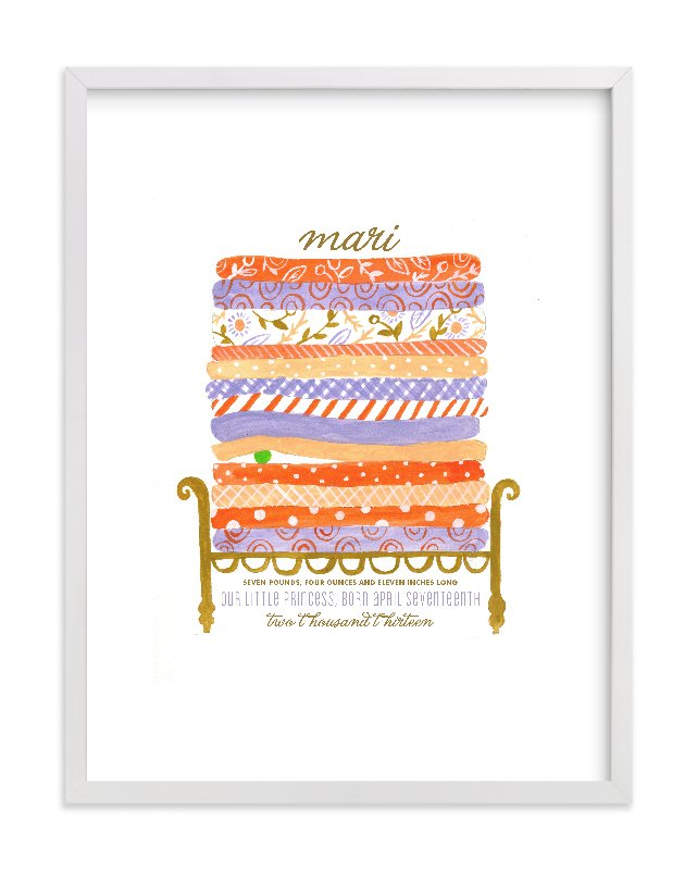 """Little Princess & the Pea"" - Nursery Custom Art Print by Moglea in beautiful frame options and a variety of sizes."