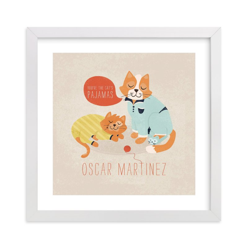 """The Cat's Pajamas"" - Nursery Custom Art Print by Pistols in beautiful frame options and a variety of sizes."