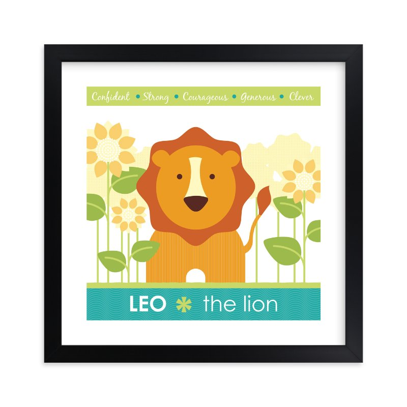 """""""Zodiac Baby Leo"""" - Nursery Custom Art Print by Lisa Seng in beautiful frame options and a variety of sizes."""