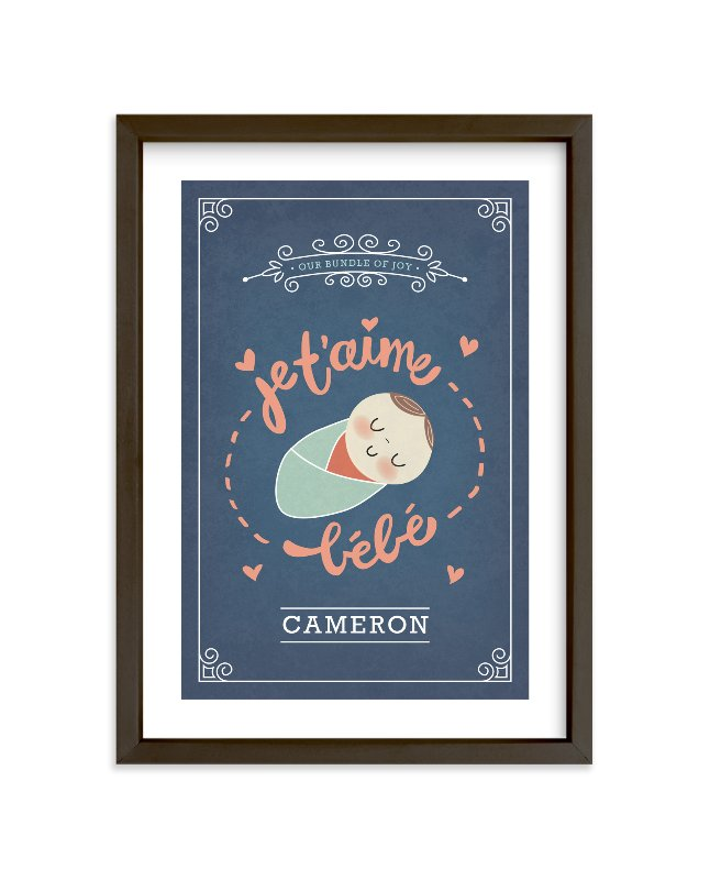 """Je T'aime Bebe"" - Nursery Custom Art Print by Guess What Design Studio in beautiful frame options and a variety of sizes."