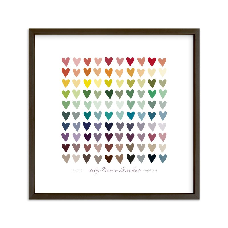 """""""Paper Hearts"""" - Nursery Custom Art Print by InkDot in beautiful frame options and a variety of sizes."""